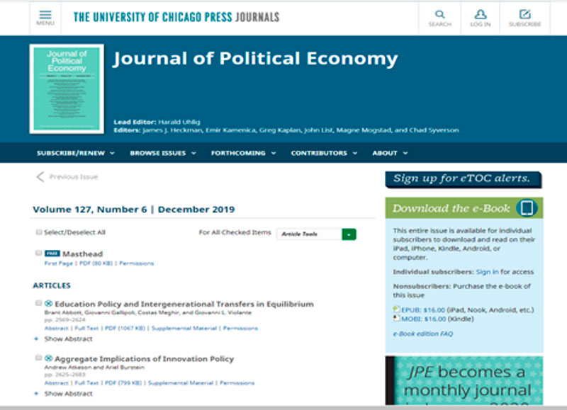 """Journal of Political Economy"""